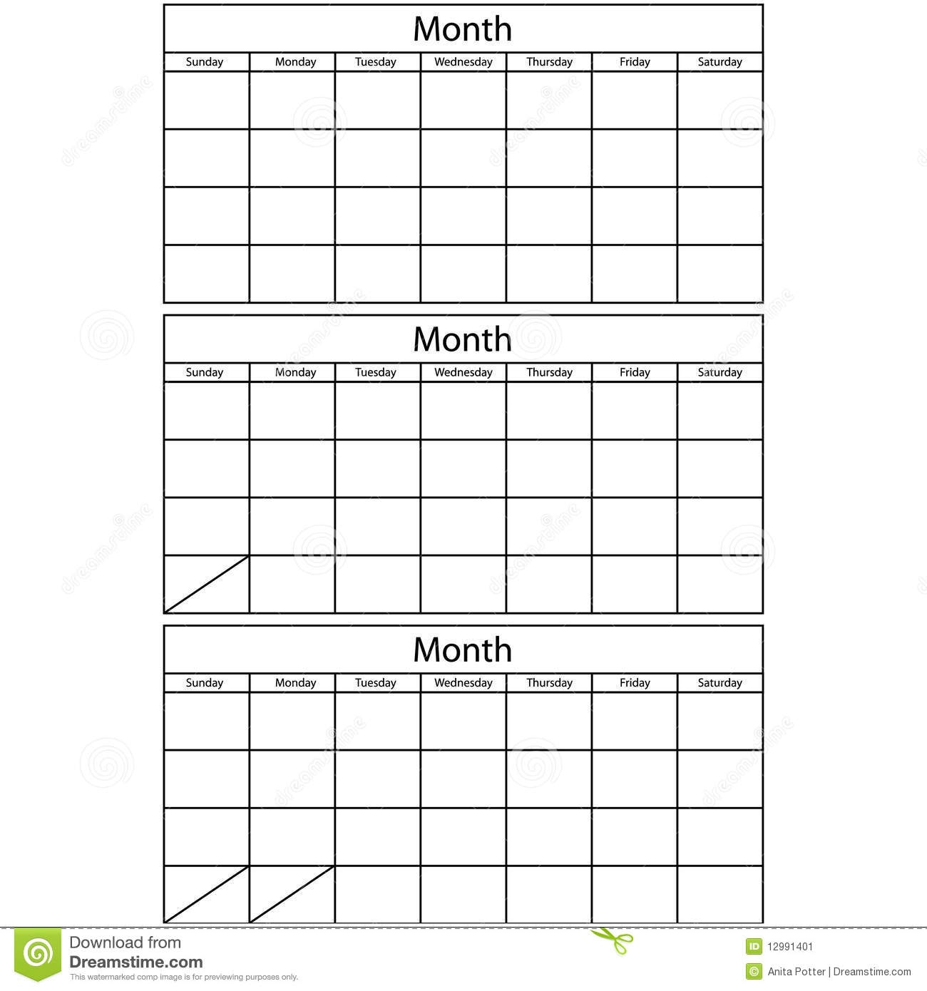 3 Month Blank Calendar Acurlunamediaco3abry