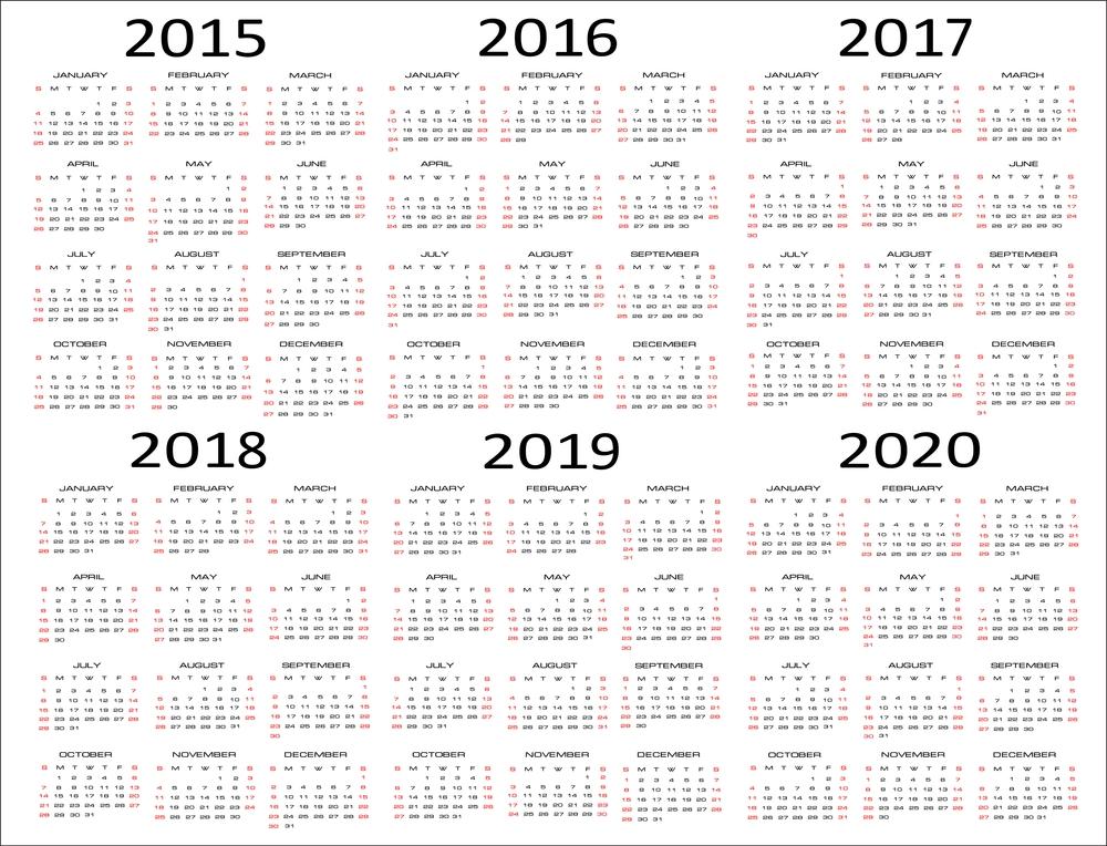 5 Year Calendar Printable Calendar Template 2018