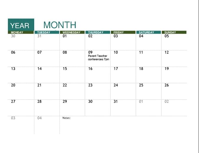 Academic Calendar Any Year