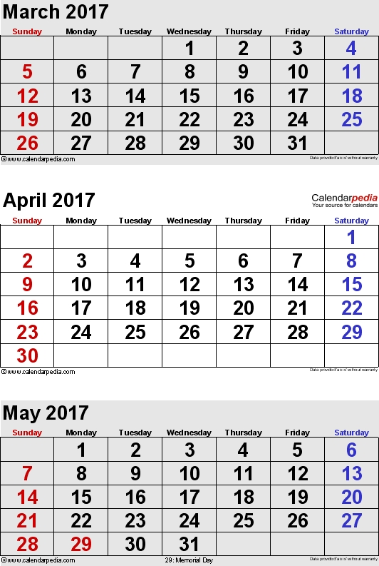 April 2017 Calendars For Word Excel Pdf