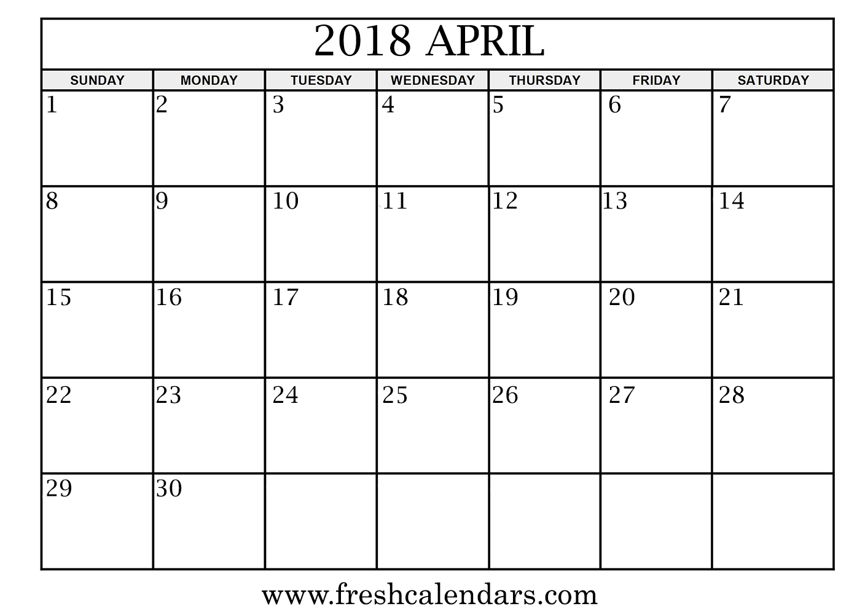 April 2018 Calendar Printable Templates  Xjb