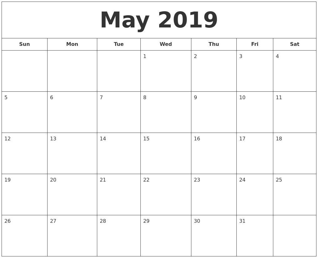 April 2019 Calendar  Xjb