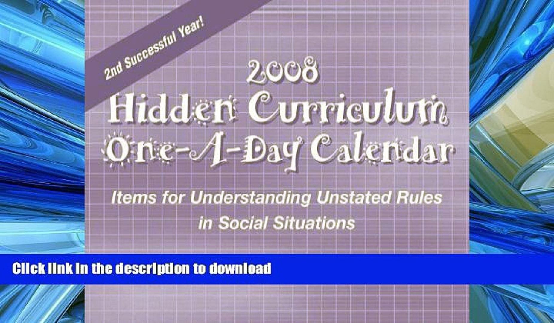 Audiobook Hidden Curriculum 2008 Calendar Items For Understanding 89uj