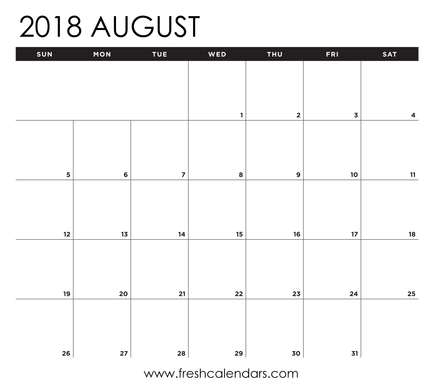 August 2018 Calendar Printable Templates  Xjb
