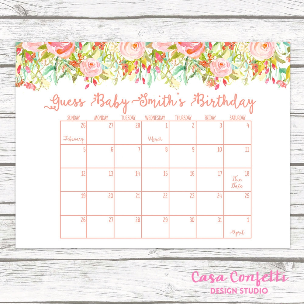 Ba Shower Calendar Template Lovely Ba Shower Ba Shower  Xjb