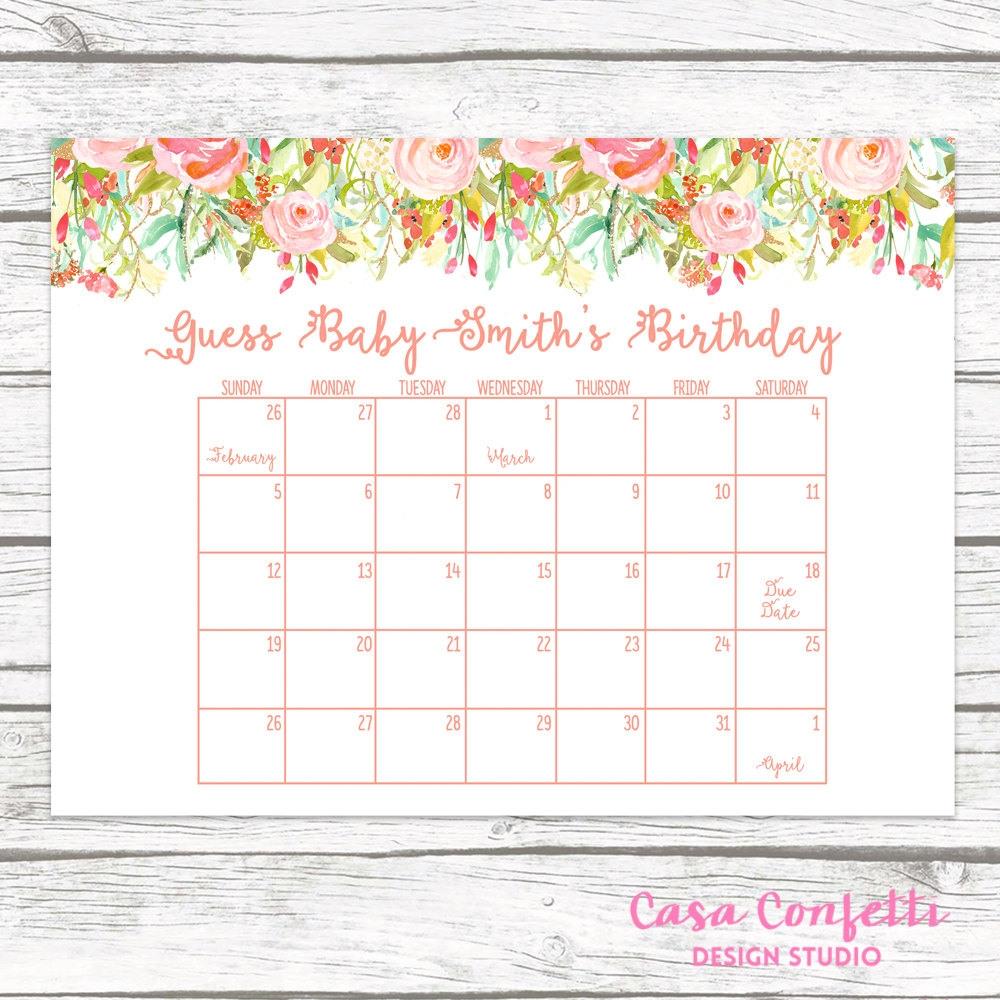 Ba Shower Calendar Template Lovely Ba Shower Ba Shower