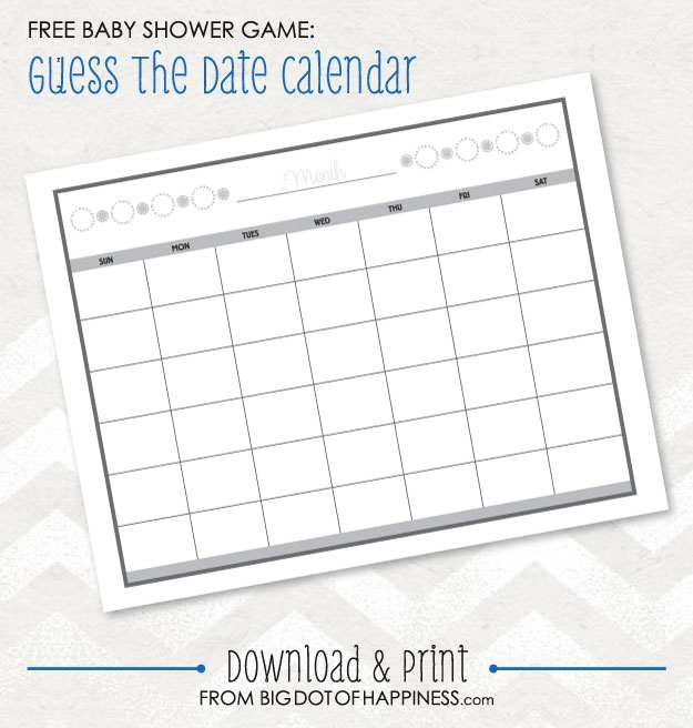 Ba Shower Game Ideas Guess The Date Free Printable Big Dot Of