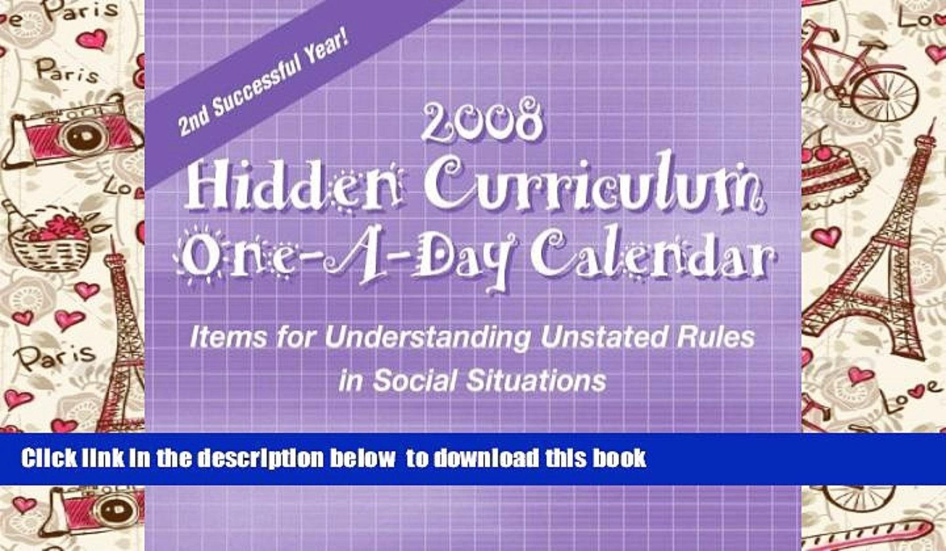 Best Pdf Hidden Curriculum 2008 Calendar Items For Understanding 89uj