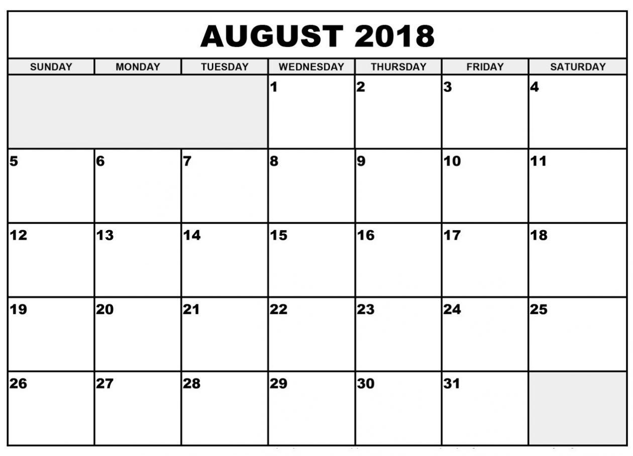 Blank Calendar August 2018 Template Free Printable 2018 Calendar  Xjb