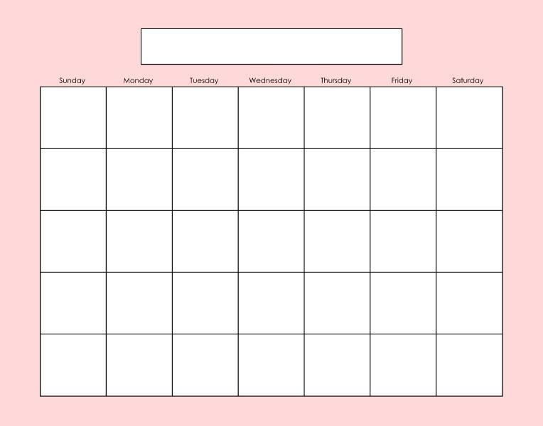 Blank Calendar Page Fill As Needed Printables Pinterest