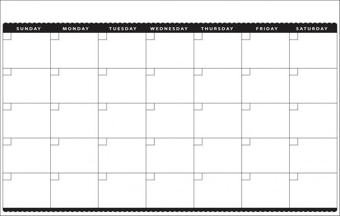 Blank Monthly Calendar Template Printable 11x17 Calendar 1500 X 955