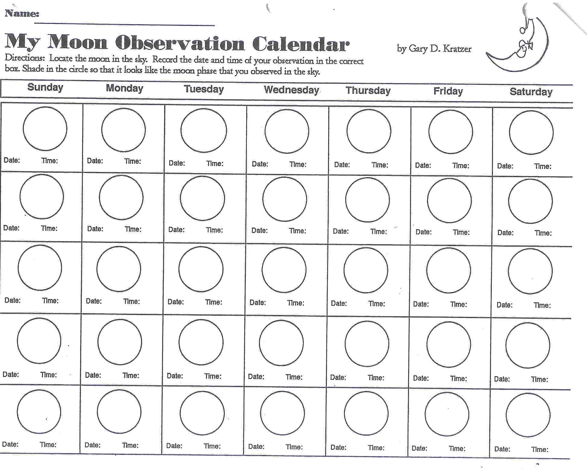 Blank Moon Phase Calendar Worksheet Calendario Pis3abry