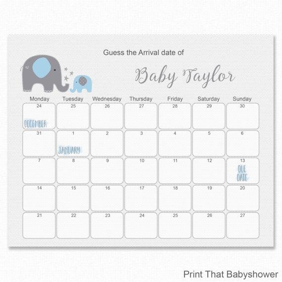 Blue Elephant Ba Shower Guess The Due Date Ba Shower Games