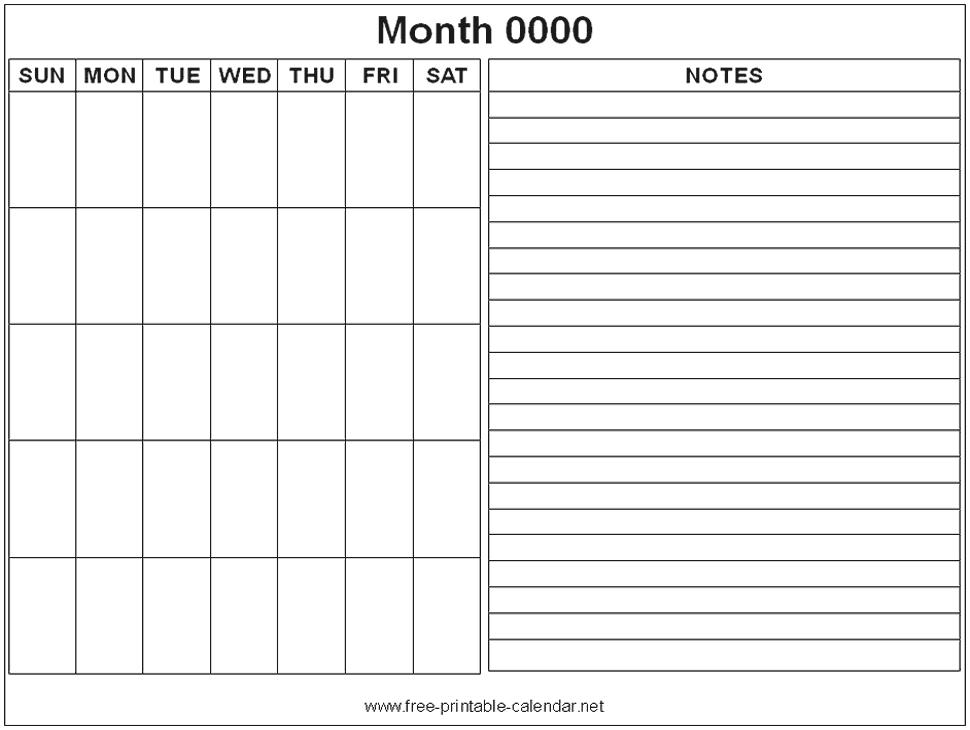 Calendar Notes Template Free Printable Note Calendars Blank Calendar