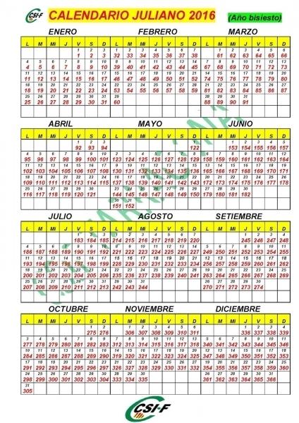 Calendario 2016 Dia Juliano Printable Calendar Template 2018