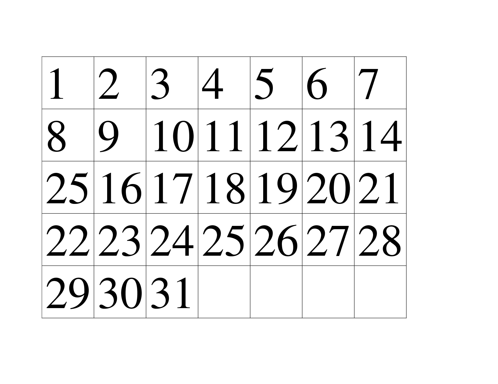 Chart Printable Number Chart 1 31