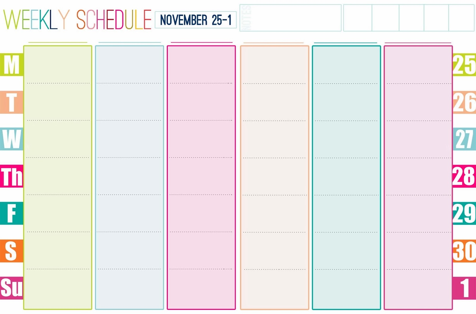 Cute Weekly Calendar Template  Xjb