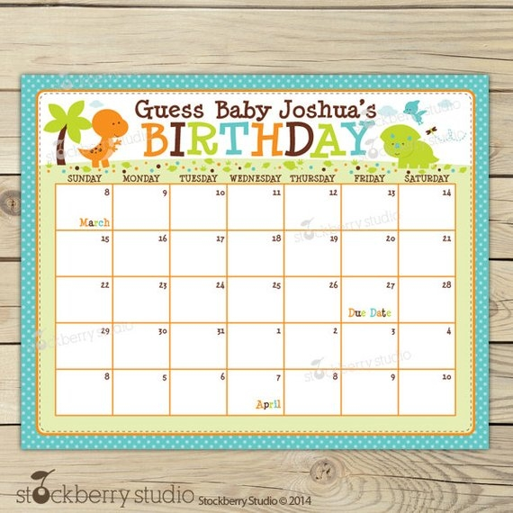 Dinosaur Ba Shower Guess The Due Date Calendar Printable