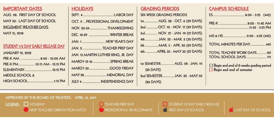 Driscoll Middle School School District Instructional Calendar