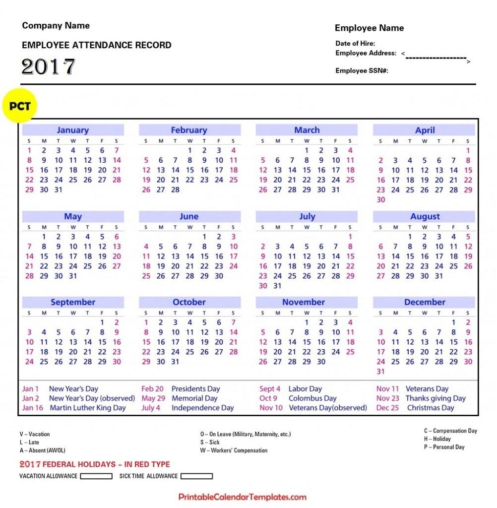 Employee Attendance Calendar 2018 Printable Calendar Templates  Xjb