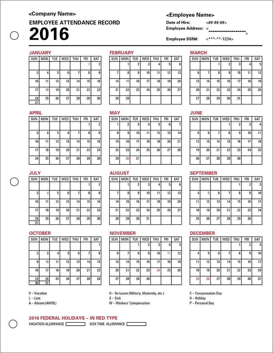Employee Attendance Calendar Tracker Templates 2016 Printable3abry
