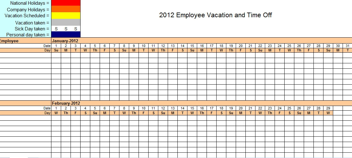 Employee Time Off Calendar Template Excel