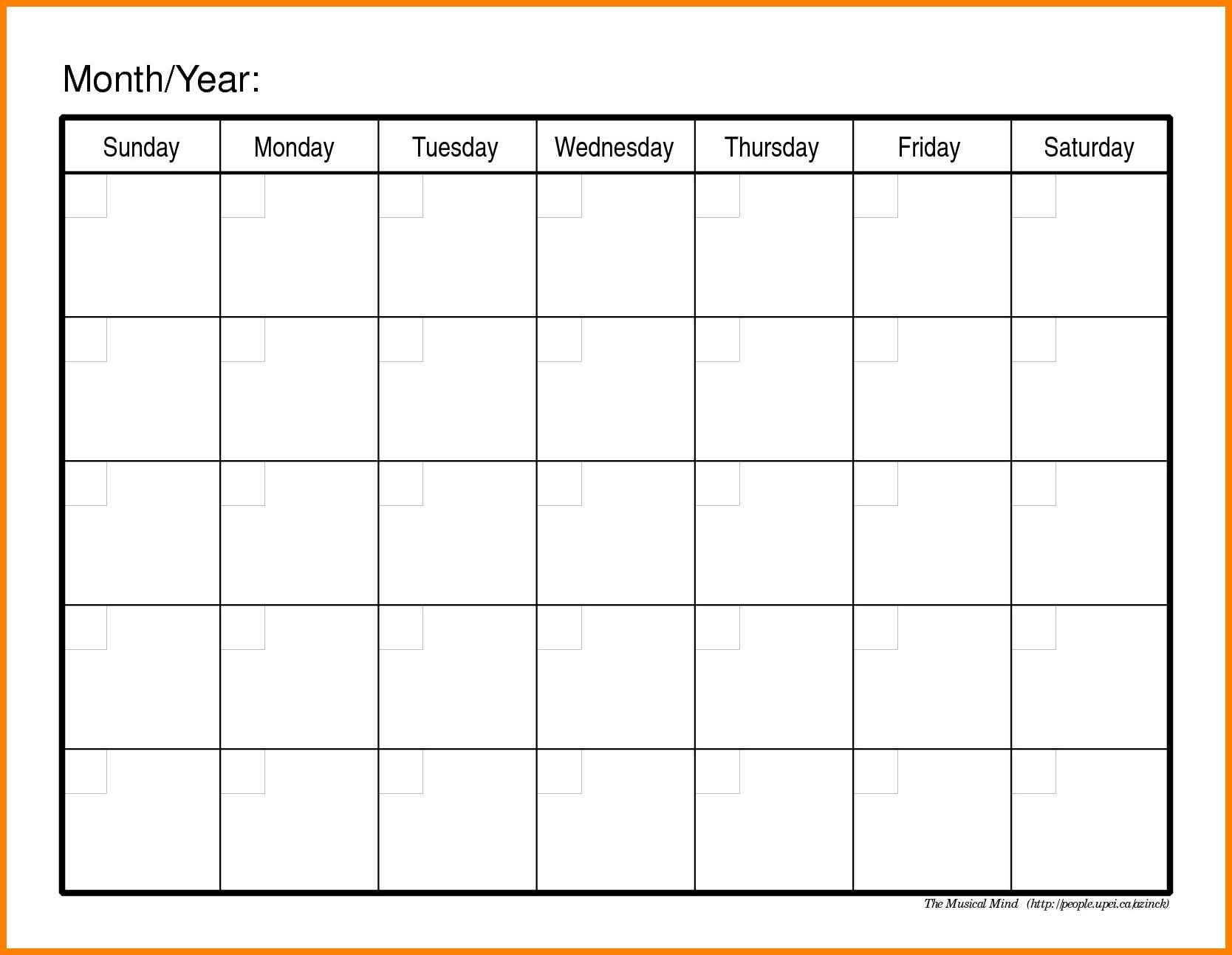 Monthly Fill In Calendar