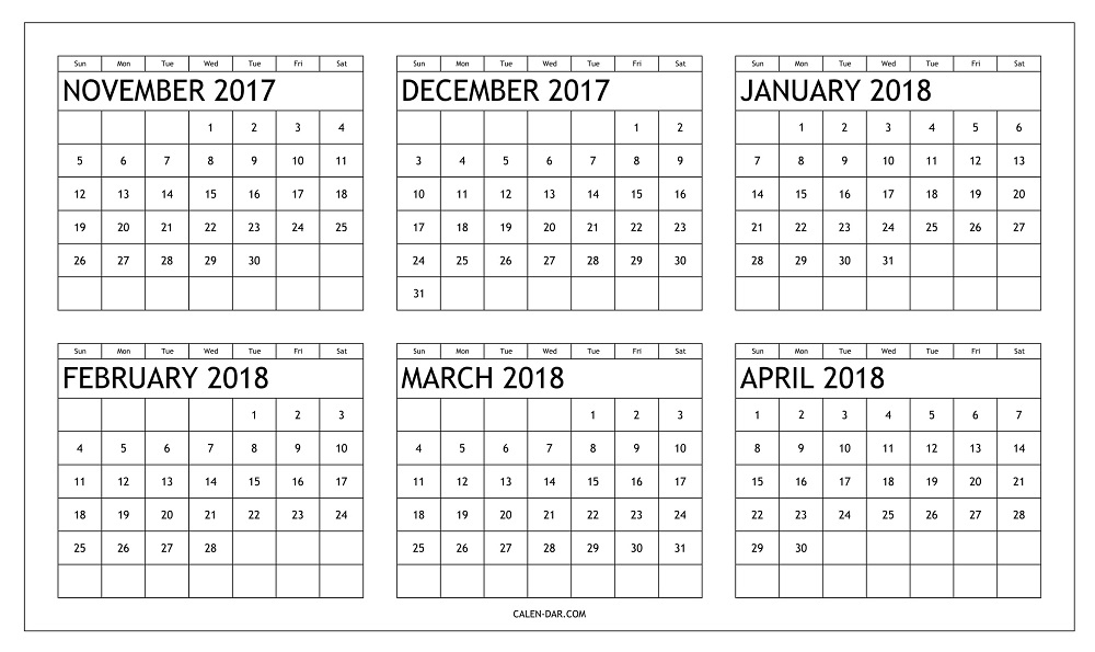 Free 6 Month Calendar Template Blank November 2017 To April 2018