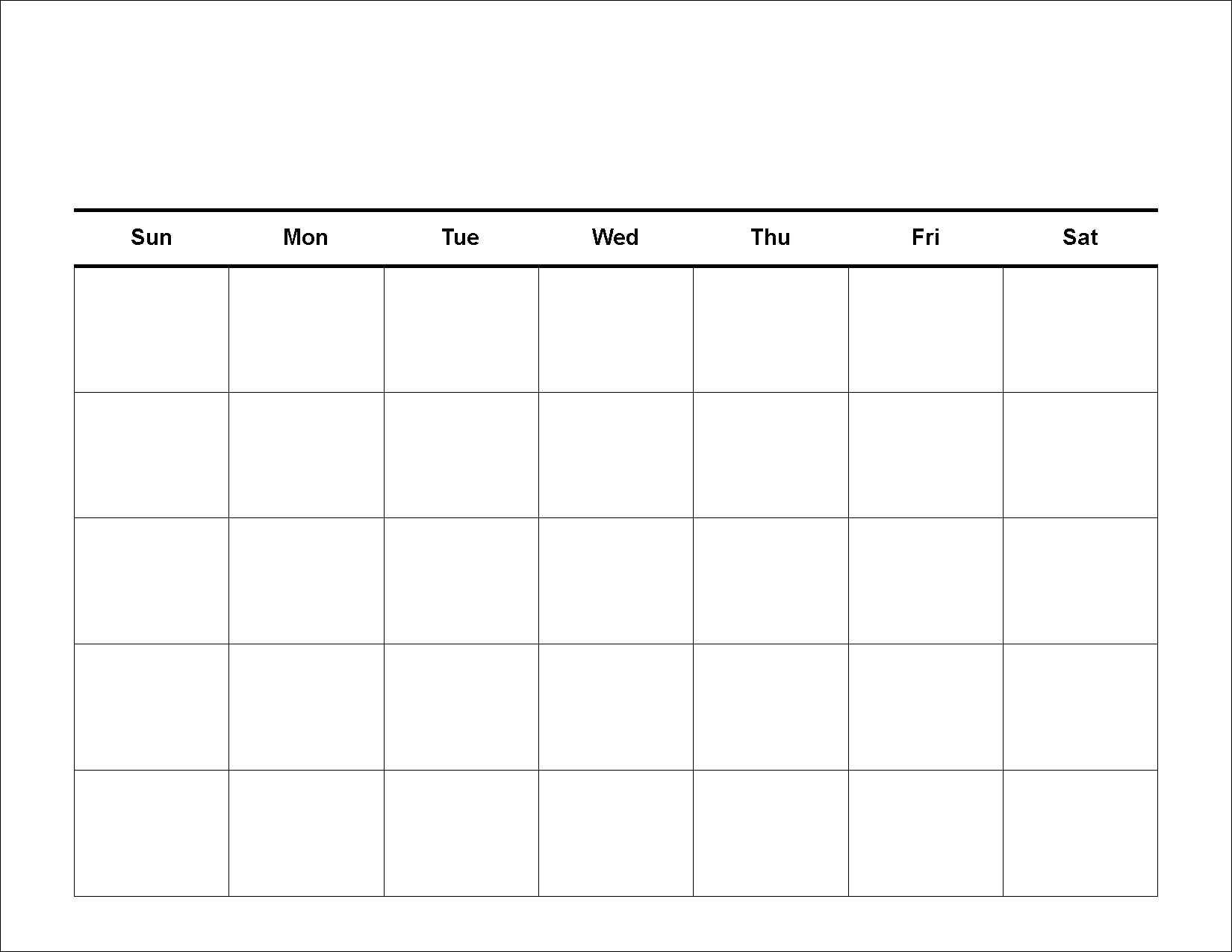 Free Blank 31 Day Calendar Template Print For Of Cost Cool  Xjb