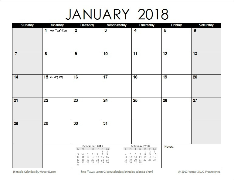 Free Printable Calendar 2018 Year With Notes Section Together With