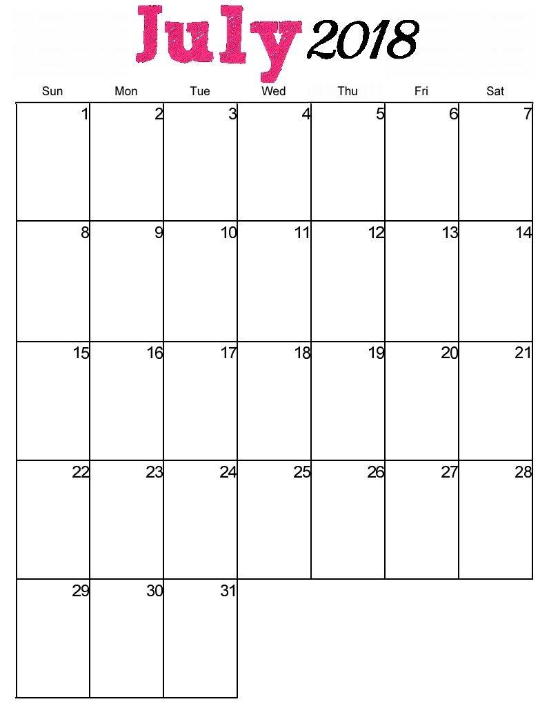 Free Printable July 2018 Vertical Calendar Maxcalendars  Xjb