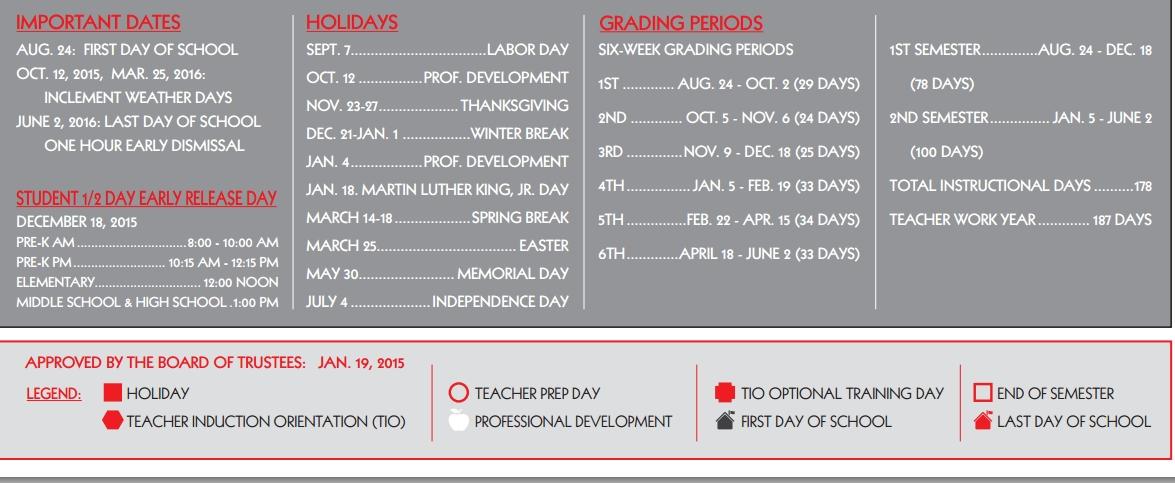 Galvan Elementary School School District Instructional Calendar