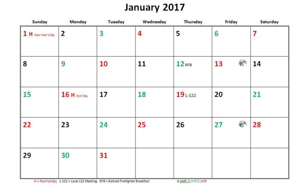 Jfrd 56 Hour Firefighter Shift Calendar 2017