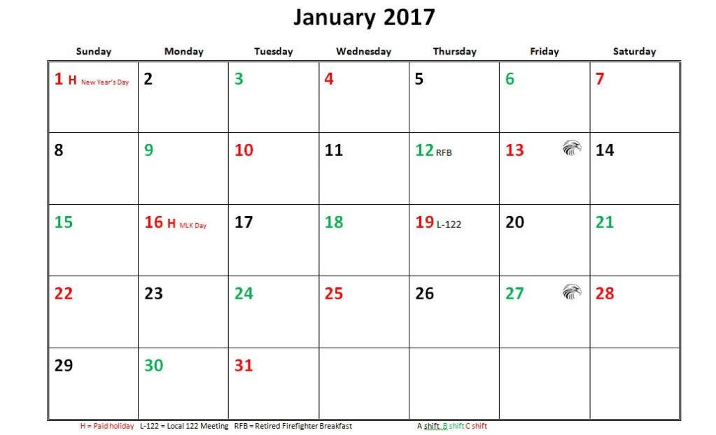 Jfrd 56 Hour Firefighter Shift Calendar 2017
