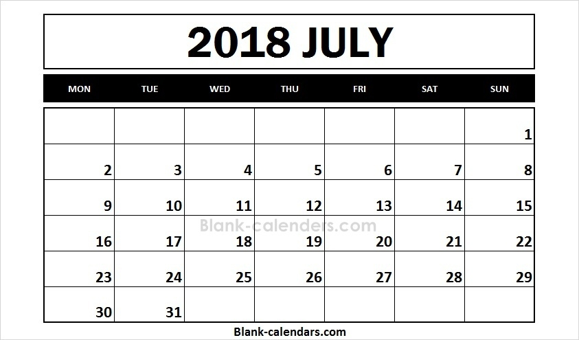 July 2018 Calendar Monday Start Editable Template Blank 2018 Calendar