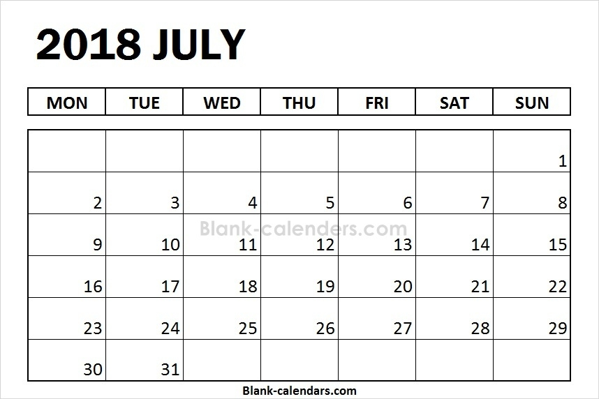 July 2018 Calendar Monday Start Editable Template Blank 2018 Calendar