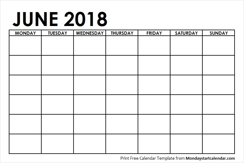 June 2018 Calendar Blank Template To Print Starting From Monday