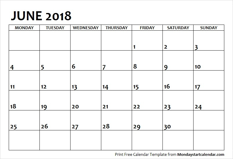 June 2018 Calendar Monday Start June Month Template