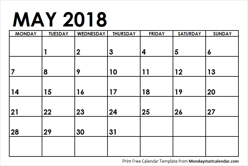 May 2018 Calendar Monday Start May Month Template