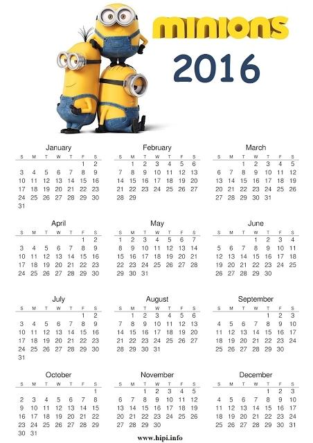 Minions Calendar 2016 Printable Free Minion Pinterest Minion