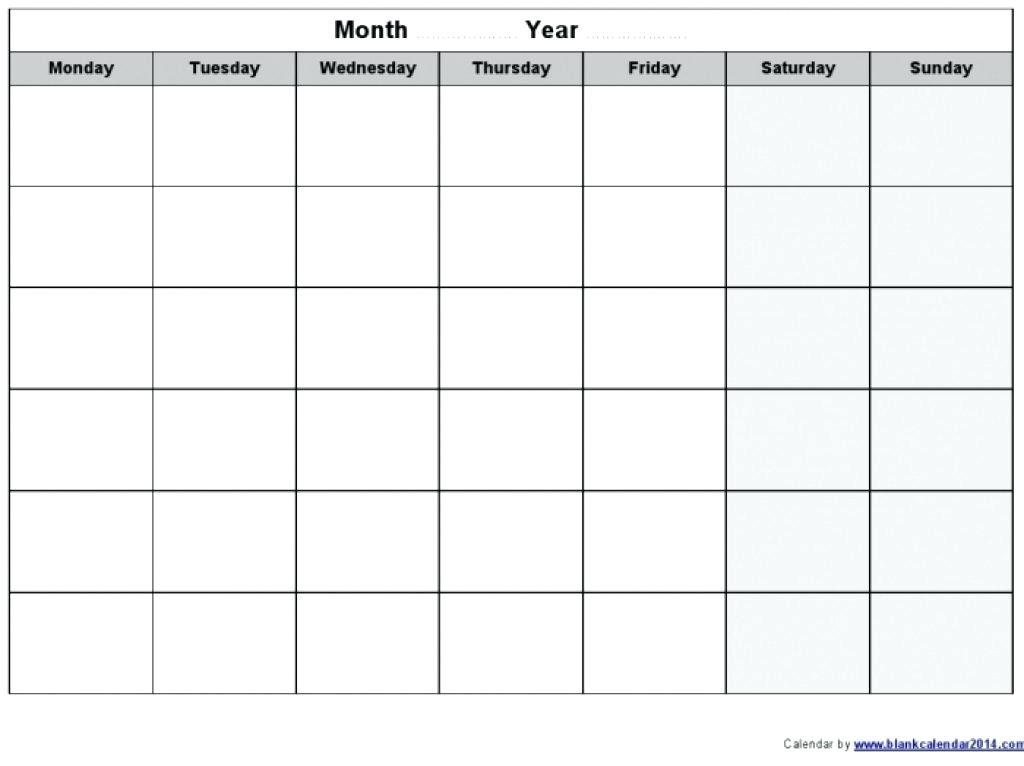 Monday To Sunday Calendar Template Through Blank Thru Friday