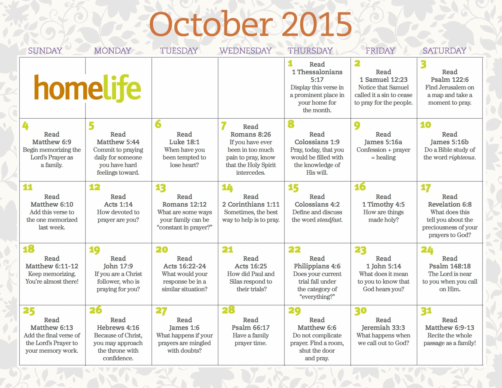 October 2015 Homelife Family Time Calendar And Scripture Art3abry