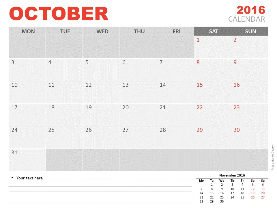 October 2016 Powerpoint Calendar Presentationgo