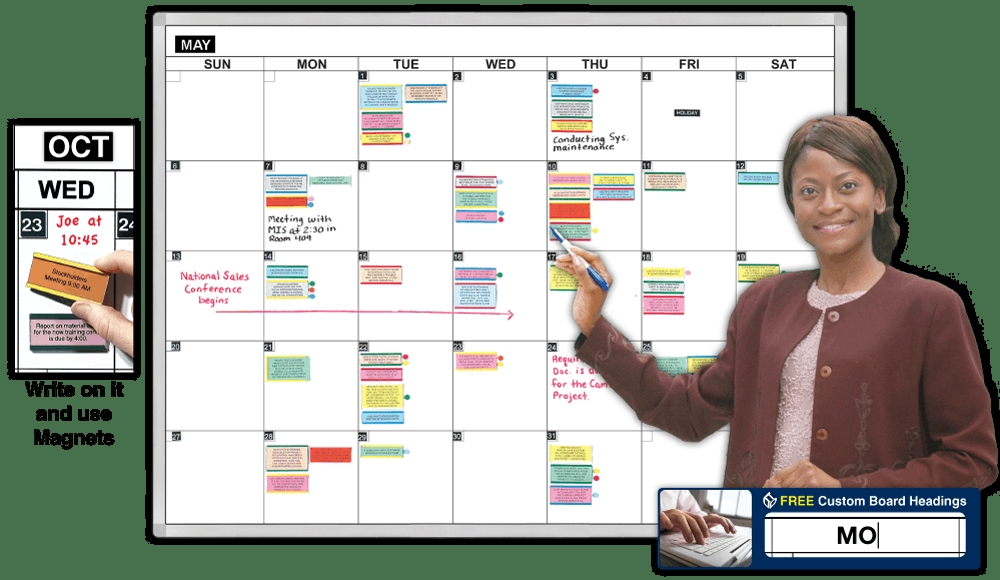 One Month Magnetic Dry Erase Calendar Large Whiteboard