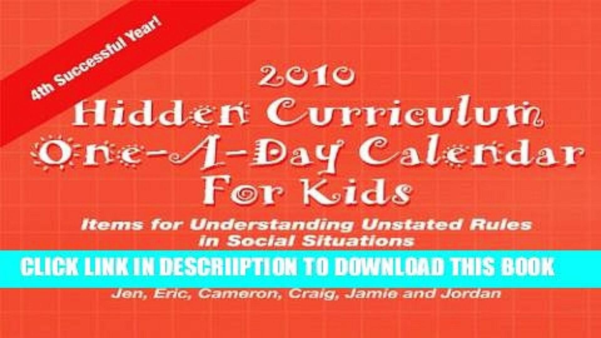 Pdf Hidden Curriculum 2010 Calendar For Kids Items For 89uj