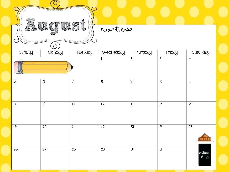 Preschool Calendar Templates As Well As Free Teacher Calendar