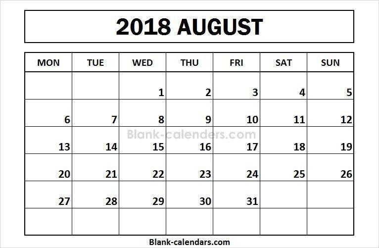 Printable August 2018 Calendar Monday Start Calendar 2018