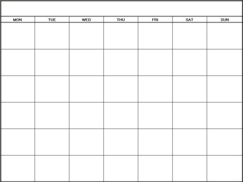 Printable Blank Calendars Templates Monday Blank Calendars
