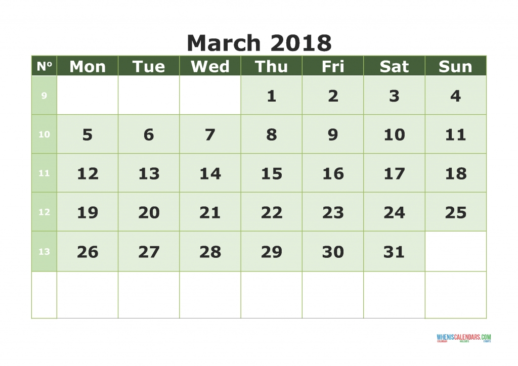 Printable Calendar 2018 With Week Numbers Week Day On Monday