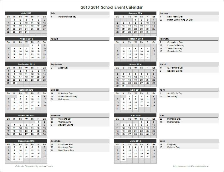 School Calendar Template 2018 2019 School Year Calendar